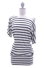 Striped VICTORIA Jersey Short Sleeve Banded Off the Shoulder, Boat Neck Tunic Top-Navy and Beige