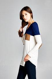 Long Sleeve V-Neck Faux Suede Elbow Patch Color Block Top-Navy Blue & White