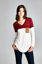 Long Sleeve V-Neck Faux Suede Elbow Patch Color Block Top-Burgundy & White