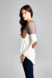 Long Sleeve V-Neck Faux Suede Elbow Patch Color Block Top-Taupe & White