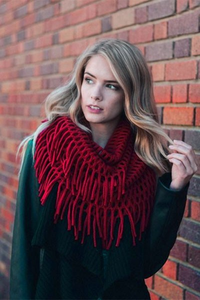 Fringe Knit Crochet Infinity Scarf-Red
