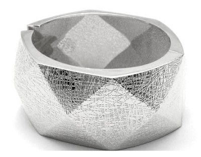 :As Seen in PEOPLE MAGAZINE: Thick Geometric Crackled Metallic Textured Cuff Bracelet-Silver