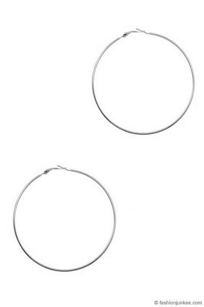 :As Seen In PeopleStyle Magazine: Round Hoop Earrings-Silver