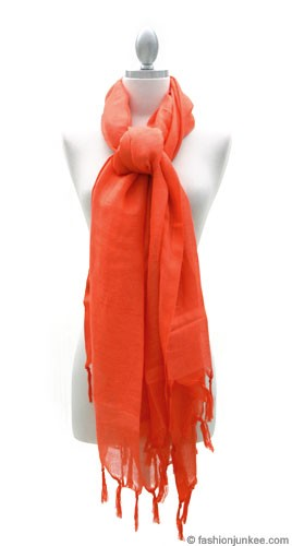 Love Quotes Linen Knotted Fringe Scarf-Coral