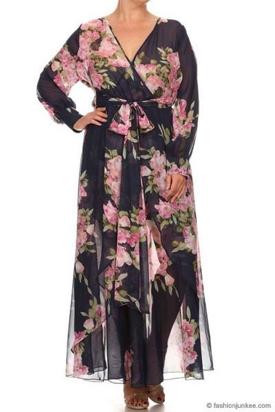 a831e5c4b0 Send My Love Floral Chiffon Maxi Dress-Navy & Pink