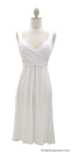 :As Seen In US WEEKLY: Crossover Fauxe Wrap Vintage Inspired Jersey Dress-White