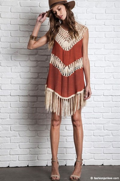 Boho Sleeveless Loose Crochet Fringe Dress-Rust & Beige