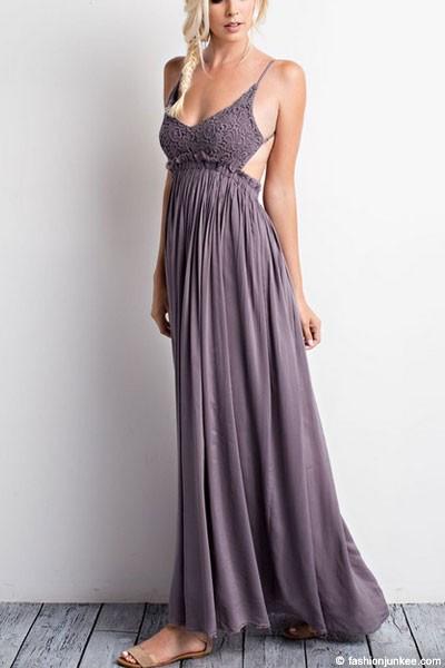 184f556331 Backless Open Back Crochet Maxi Full Length Bridesmaid Dress-Dark Grey