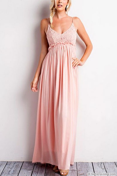 Backless Open Back Crochet Maxi Full Length Bridesmaid Dress-Pink