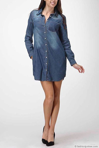 6d88889237e Loose Chambray Denim Button Up Shirt Dress with Roll Up Sleeves-Dark Blue