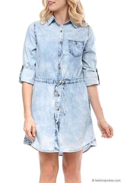 Drawstring Acid Wash Chambray Denim Button Up Shirt Dress-Blue