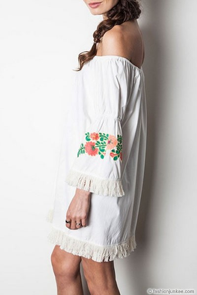 :As Seen In PEOPLE STYLEWATCH Magazine: Off the Shoulder Floral Embroidered Fringe Bell Sleeve Dress-White