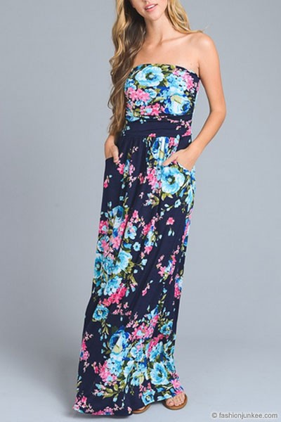 Bright Floral Strapless Tube Maxi Dress with Pockets-Navy & Blue