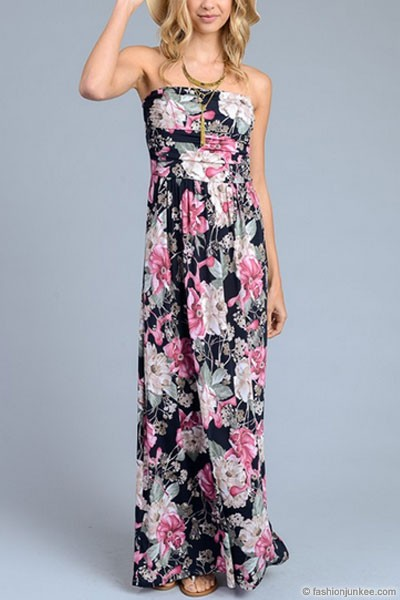 Strapless Tube Floral Maxi Dress with Pockets-Black & Pink