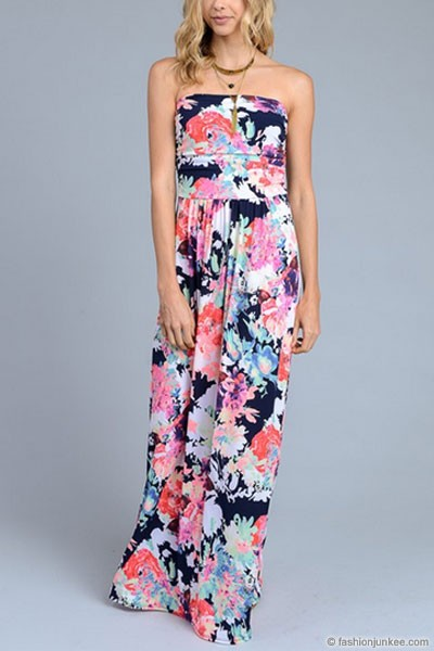 Bright Splash of Color-ful Strapless Tube Floral Maxi Dress with Pockets-Navy Blue