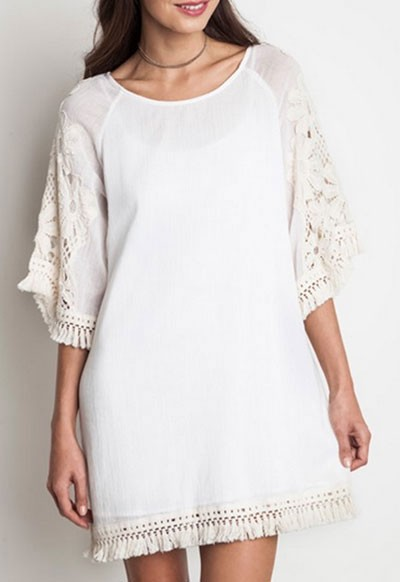 Boho Floral Embroided Sleeve Fringe Shift Dress-White