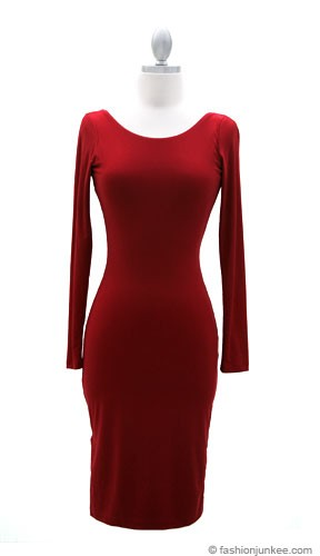 Knee Length Long Sleeve Backless Evening Dress-Red