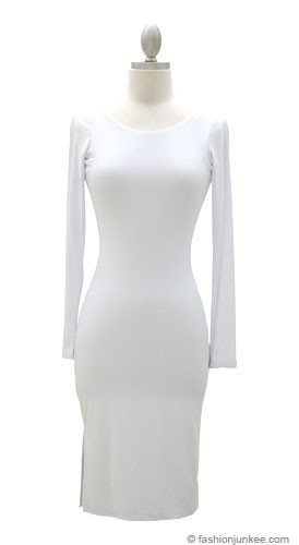 Knee Length Long Sleeve Backless Evening Dress-White