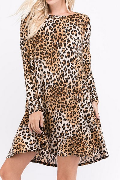 Leopard Print Long Sleeve A-Line Tunic Dress with Pockets-Leopard Print