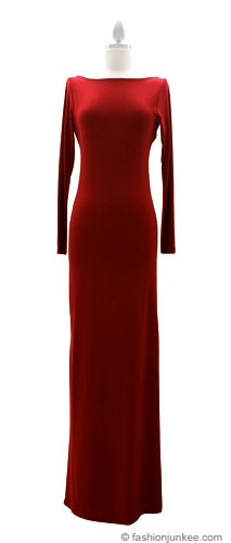 Full Length Long Sleeve Backless Evening Dress-Red