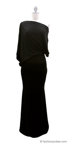 :As Seen In US WEEKLY: Long Full Length Jersey Boat Neck Off the Shoulder Dress-Black