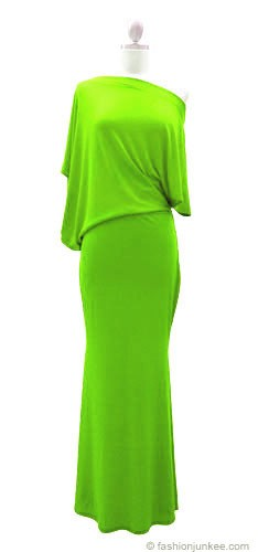 :As Seen In US WEEKLY: Long Full Length Jersey Boat Neck Off the Shoulder Dress-Lime Green
