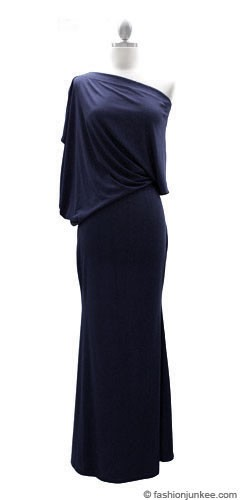 :As Seen In US WEEKLY: Long Full Length Jersey Boat Neck Off the Shoulder Dress-Navy Blue