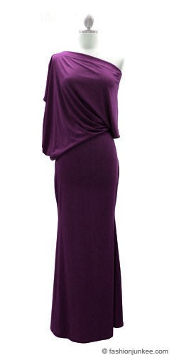 :As Seen In US WEEKLY: Long Full Length Jersey Boat Neck Off the Shoulder Dress-Purple