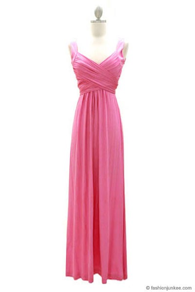 :As Seen In US WEEKLY: Long Crossover Fauxe Wrap Vintage Inspired Jersey Bridesmaid Dress-Pink