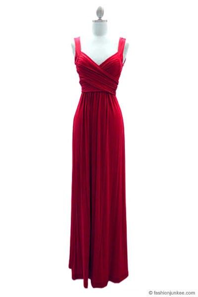 :As Seen In US WEEKLY: Long Crossover Fauxe Wrap Vintage Inspired Jersey Bridesmaid Dress-Red