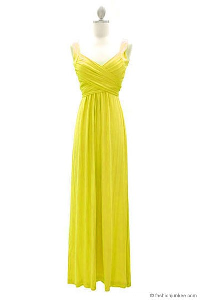:As Seen In US WEEKLY: Long Crossover Fauxe Wrap Vintage Inspired Jersey Bridesmaid Dress-Yellow