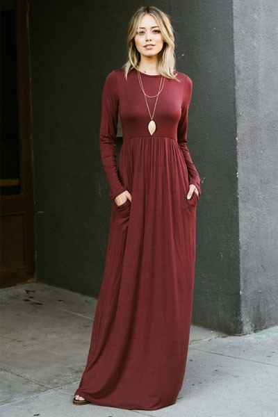 319bc1852a2 Solid Jersey Long Sleeve Maxi Dress with Hidden Pockets-Burgundy Dark Red