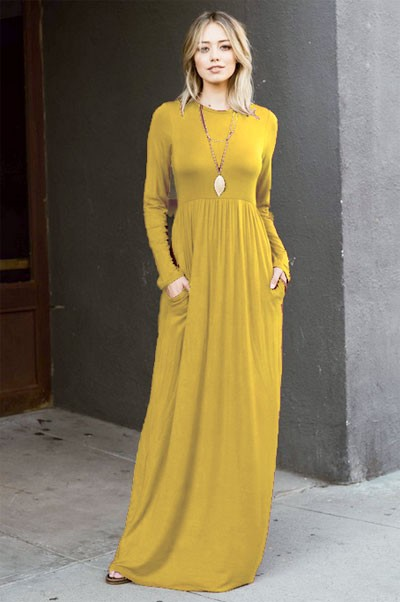 FLASH DEAL: Solid Jersey Long Sleeve Maxi Dress with Hidden Pockets-Mustard Yellow