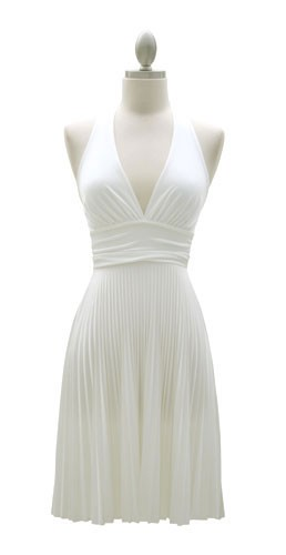 Marilyn Monroe Pleated Low Cut Halter Cocktail Dress White