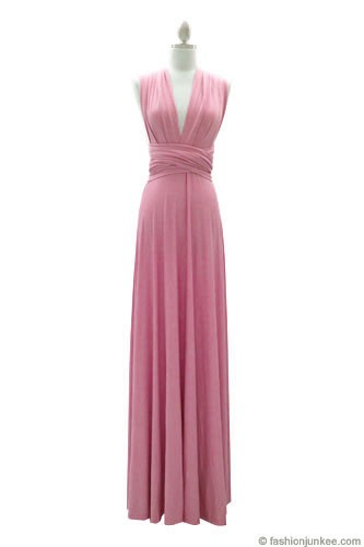 Multi Way Covertible Maxi Full Length Bridesmaid Dress-Dusty Pink