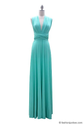 Multi Way Covertible Maxi Full Length Bridesmaid Dress-Mint