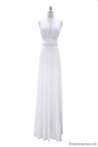 Multi Way Covertible Maxi Full Length Wedding Dress-White