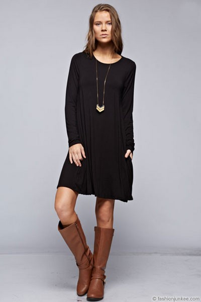 Long Sleeve Jersey A-Line Tunic Dress with Pockets-Black
