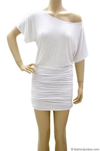 Ruched Jersey Short Sleeve Banded Off the Shoulder Mini Dress-White