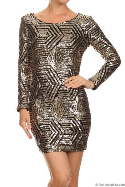 Sequin Long Sleeve Low Cut V Neck Mini Dress Gold Black