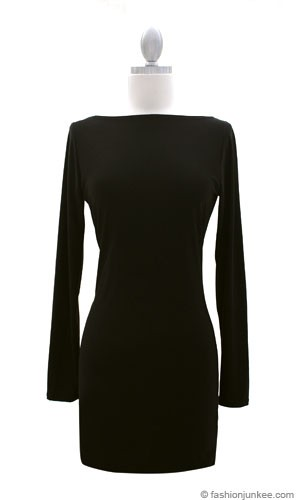 the SEXY BACK Dress - Boat Neck Long Sleeve Backless Mini-Black