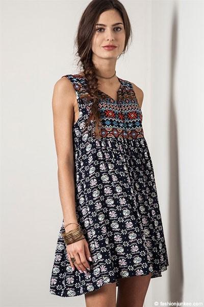 PLUS SIZE Sleeveless Bohemian Printed Baby Doll Tunic Shirt Dress-Navy Blue