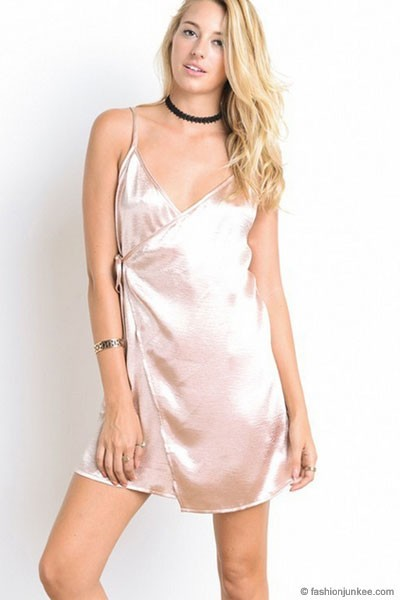 :As Seen In PeopleStyle Magazine: Satin Slip Dress with Side Tie-Champagne/Nude