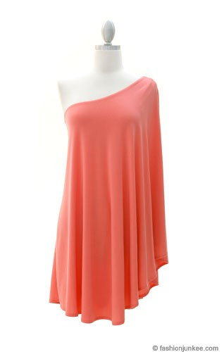 One Shoulder DRESS with Winged Kimono Slit Sleeves-Coral