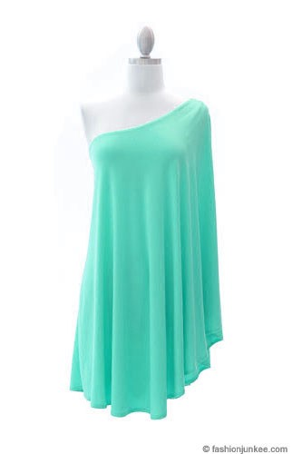 One Shoulder DRESS with Winged Kimono Slit Sleeves-Mint
