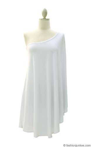 One Shoulder DRESS with Winged Kimono Slit Sleeves-White