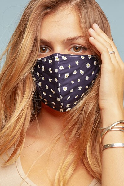 Cotton Washable Face Mask Reusable Cloth Face Covering with Slot for Filter-Navy Blue Daisy Floral Print