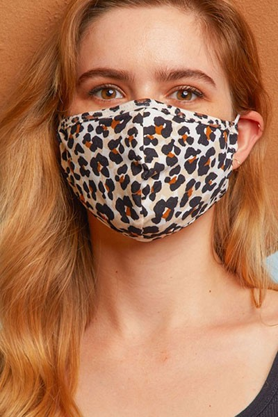 Stretch Cotton Washable Face Mask Reusable Cloth Face Covering with Filter Pocket-Leopard Print
