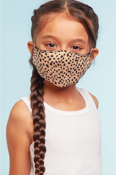 Kids Stretch Cotton Washable Face Mask Reusable Cloth Face Covering with Filter Slot-Cheetah Leopard Print
