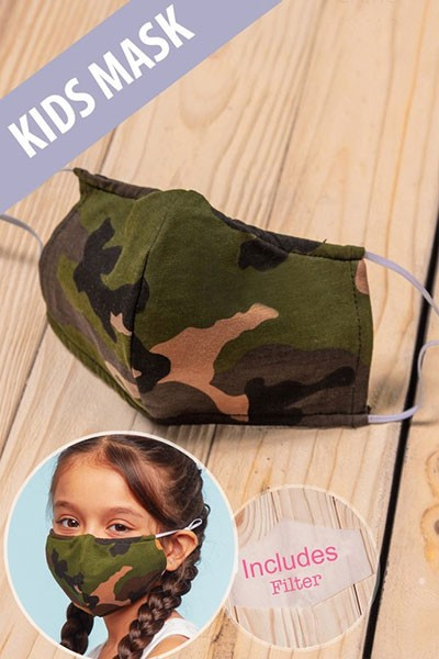 Kids Cotton Washable Face Mask Reusable Cloth Face Covering with Slot for Filter-Camouflage Camo Print